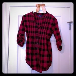 Ruffled flannel print shirt